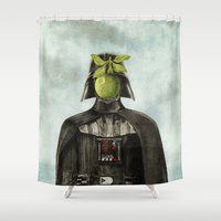 magritte Shower Curtains featuring Son of Darkness by Eric Fan