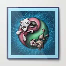 """Like cats and dogs"" - Yin Yang Metal Print"