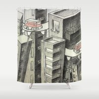 city Shower Curtains featuring city by Madmi
