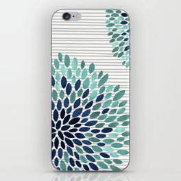Blooms and Stripes, Aqua and Navy iPhone Skin
