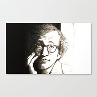 woody allen Canvas Prints featuring Woody Allen by Frances Roughton