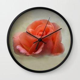 Romantic Peachy Rose Floral Wall Clock