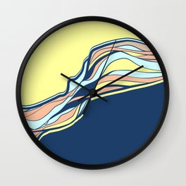 light blue & navy & banana / minimalist Wall Clock
