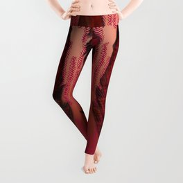 Traces of the Magpie on copper and dark rose Leggings