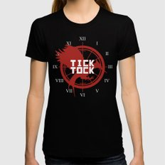 Tick Tock LARGE Black Womens Fitted Tee
