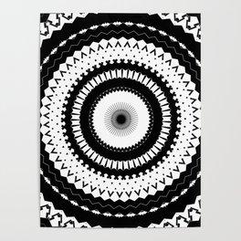 Simple Black White Mandala Poster