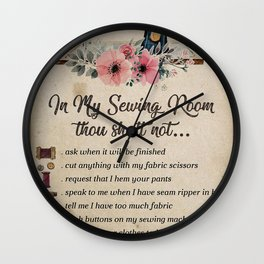 In my sewing room. Vintage illustration poster art. Wall Clock