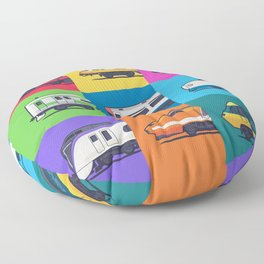World Trains Grid Pattern Floor Pillow