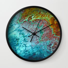 70's - Abstract Acrylic Pour Wall Clock