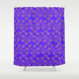Georgian Floral Gold on Purple Shower Curtain