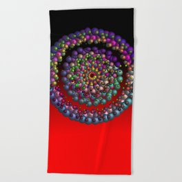 round, colorful, red Beach Towel