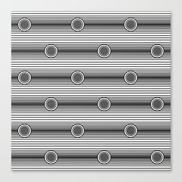 Concentric Circles and Stripes in Black and White Canvas Print