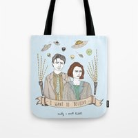 mulder Tote Bags featuring Mulder and Scully 4Ever by Mali Fischer