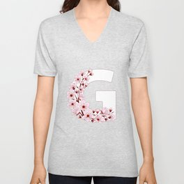 Colorful capital letter G patterned with sakura twig Unisex V-Neck