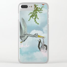 Funny stork Clear iPhone Case