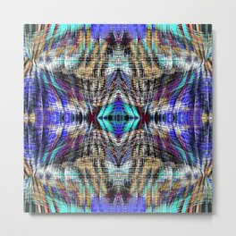 geometric symmetry pattern abstract background in blue brown pink Metal Print