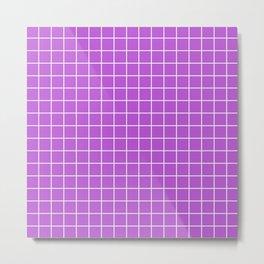 Medium orchid - violet color - White Lines Grid Pattern Metal Print
