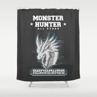 monster hunter Shower Curtains featuring Monster Hunter All Stars - The Dondruma Hurricanes by Bleached ink