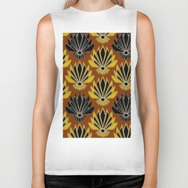 ART DECO YELLOW BLACK COFFEE BROWN AGAVE ABSTRACT Biker Tank