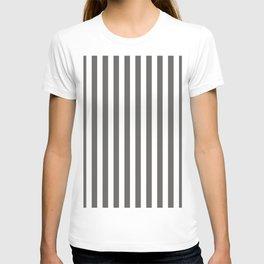 Pantone Pewter Gray & White Stripes, Wide Vertical Line Pattern T-shirt