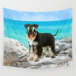 Miniature Schnauzer on the beach Watercolor Wall Tapestry