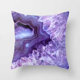 Purple Lavender Quartz Crystal Throw Pillow