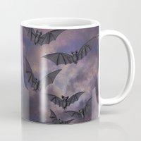 bats Mugs featuring midnight bats by Sarah Knight