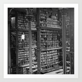 A book lovers dream - Cast-iron Book Alcoves Cincinnati Library black and white photography Art Print