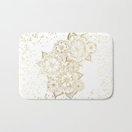 Hand drawn white and gold mandala confetti motif Bath Mat