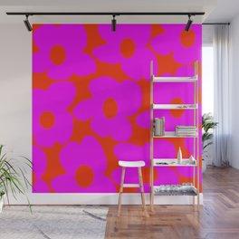 Pink Retro Flowers Orange Red Background #decor #society6 #buyart Wall Mural