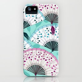 Oriental Hand Fan Pattern iPhone Case
