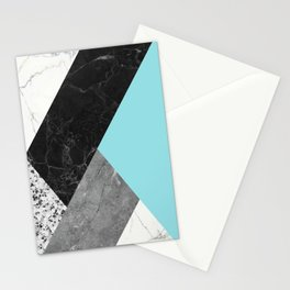 Black and White Marbles and Pantone Island Paradise Color Stationery Cards