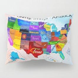 Watercolor Mosaic Map of America Pillow Sham