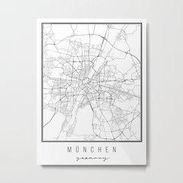 München Germany Street Map Metal Print
