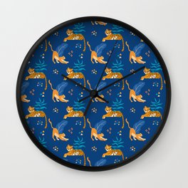 Tigers and Jaguars blue pattern Wall Clock