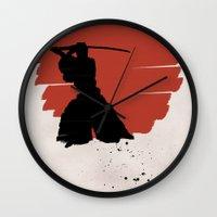 samurai Wall Clocks featuring Samurai by Purple Cactus
