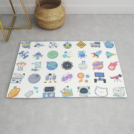 CUTE OUTER SPACE / SCIENCE / GALAXY PATTERN Rug