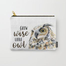 Grow Wise Little Owl Nursery Animals Art Great Horned Owl Carry-All Pouch
