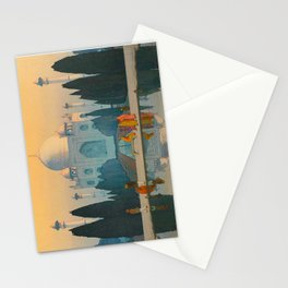 Morning Mist in Taj Mahal Vintage Beautiful Japanese Woodblock Print Hiroshi Yoshida Stationery Cards
