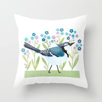 jay fleck Throw Pillows featuring Blue Jay by Stephanie Fizer Coleman