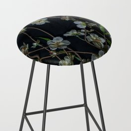 White Flowers Bar Stool