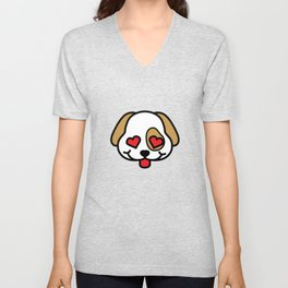 Cute Puppy Love with Heart Eyes Unisex V-Neck
