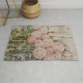 Roses Flowers Rustic Farmhouse Abstract Pretty Painting Rug