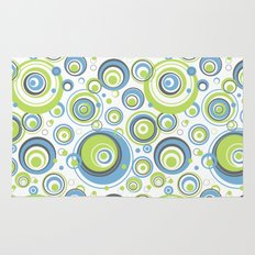 Scrambled Circles Blue/Green Rug