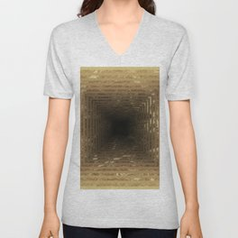 Marble's geometric tunnel in pearl color Unisex V-Neck