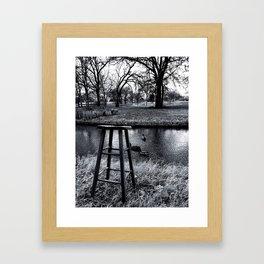 Stool - Black and White Framed Art Print