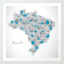 Brazil Map crystal style artwork Art Print