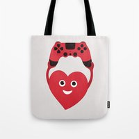 gaming Tote Bags featuring Gaming Heart by Boriana Giormova