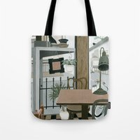 cafe Tote Bags featuring View from the Cafe by Yuliya