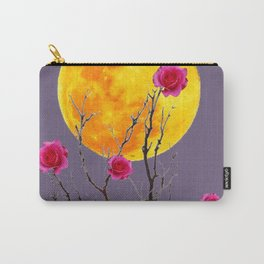SURREAL FULL MOON & PINK WINTER ROSES Carry-All Pouch